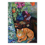 Cat and Bouquet by Suzanne Valadon Cards
