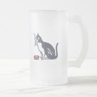 Cat and Bowl Frosted Glass Mug