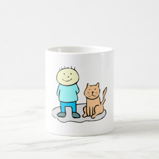 Cat And Boy Coffee Mugs