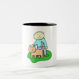 Cat And Boy Mugs