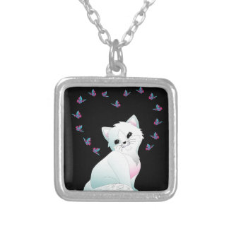 Cat and Butterflies Silver Plated Necklace
