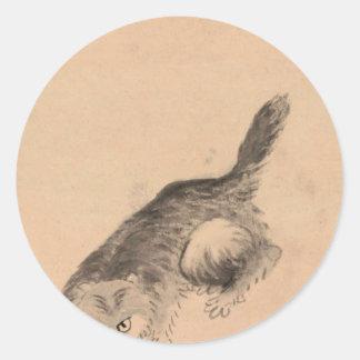 Cat and Butterfly by Bada Shanren Round Sticker