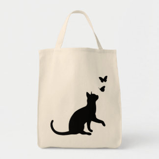 Cat and butterfly cute black silhouette kitten grocery tote bag