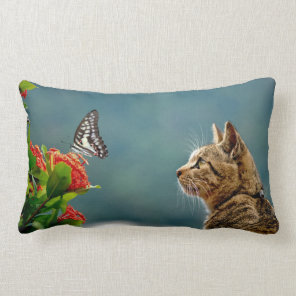 Cat and Butterfly Lumbar Cushion