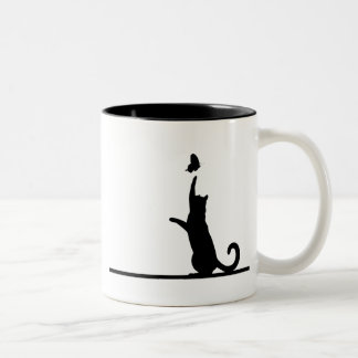 Cat and butterfly Two-Tone coffee mug
