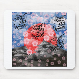 Cat and cherry tree and Matsuyama castle Mouse Pads