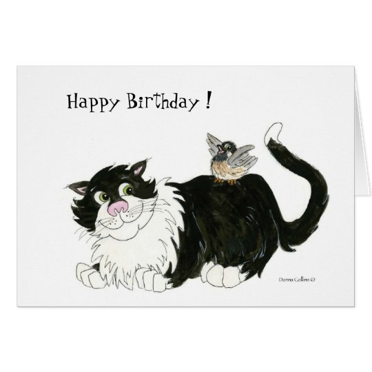 Cat and Chickadee Birthday Card