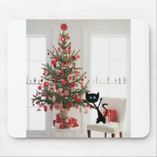 Cat and Christmas Tree Mousepads