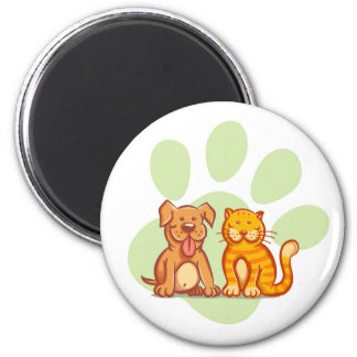 Cat and dog 6 cm round magnet