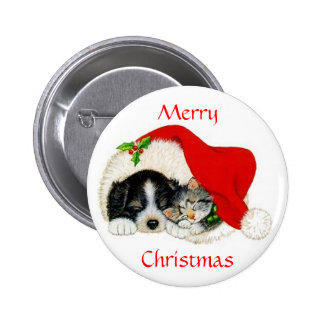 Cat and Dog Christmas Button