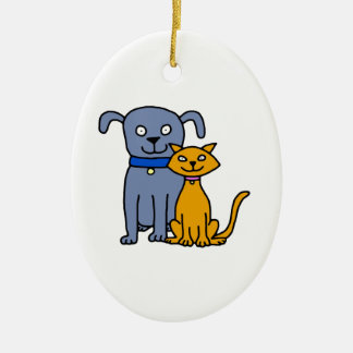 Cat and Dog Christmas Ornament