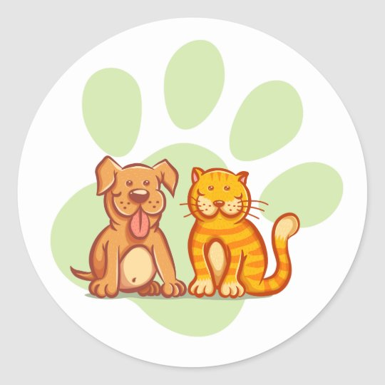 Cat and dog classic round sticker