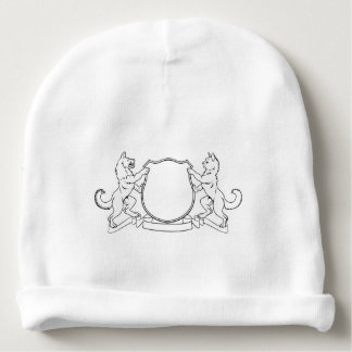 Cat and Dog Crest Coat of Arms Heraldic Shield Baby Beanie