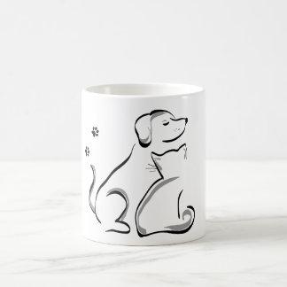 Cat and dog cuddle mug
