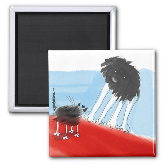 cat and dog face to face cartoon magnet