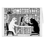 Cat and Dog in the Library Greeting Cards