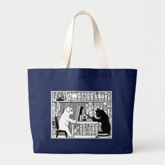 Cat and Dog in the Library Large Tote Bag