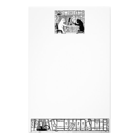 Cat and Dog in the Library Stationery Design