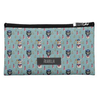 Cat and Dog Nautical Pattern   Add Your Name Makeup Bag