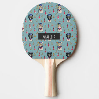 Cat and Dog Nautical Pattern | Add Your Name Ping Pong Paddle