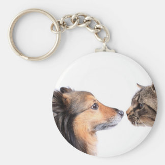 Cat and dog nose to nose basic round button key ring