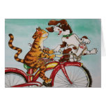 Cat and Dog on Bike Greeting Card