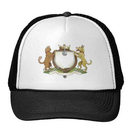 Cat and dog pets heraldic shield coat of arms mesh hats