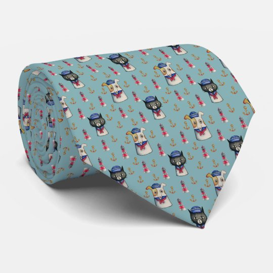 Cat and Dog Sailors Nautical Watercolor Pattern Tie
