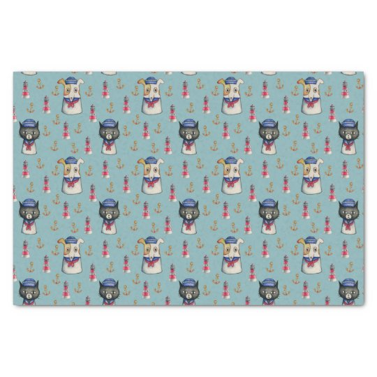 Cat and Dog Sailors Watercolor Pattern Tissue Paper