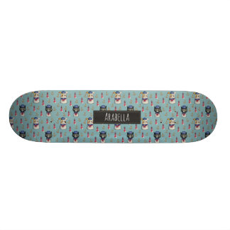 Cat and Dog Sailors Watercolor Pattern with Name 19.7 Cm Skateboard Deck