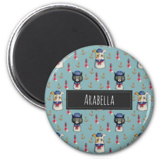 Cat and Dog Sailors Watercolor Pattern with Name 6 Cm Round Magnet