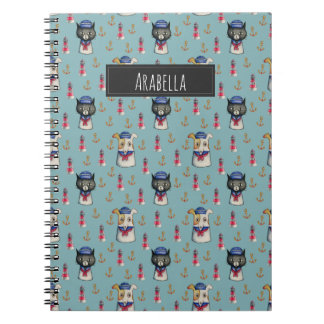 Cat and Dog Sailors Watercolor Pattern with Name Spiral Notebooks
