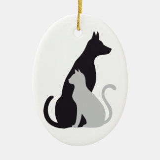 cat and dog silhouette ceramic oval decoration