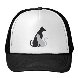cat and dog silhouette trucker hats