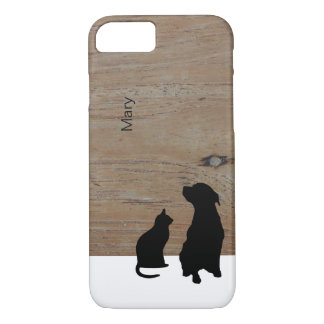 Cat and dog silhouette illustration wood name case