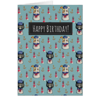 Cat and Dog Watercolor Pattern Birthday Card