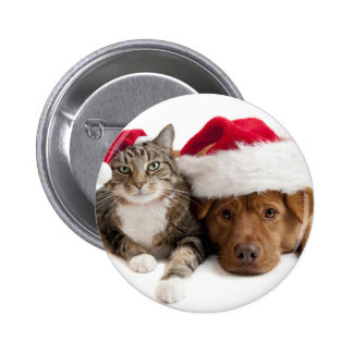 Cat and Dog Wish A Merry Christmas 6 Cm Round Badge