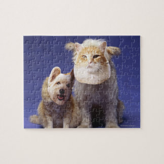 Cat and dog with masks jigsaw puzzle