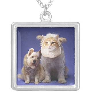 Cat and dog with masks silver plated necklace