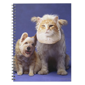 Cat and dog with masks spiral notebook
