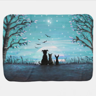 Cat and dogs Winter Sunset Baby Blanket