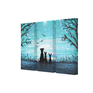Cat and dogs Winter Sunset Canvas Print