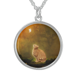 Cat and Fairy Round Pendant Necklace