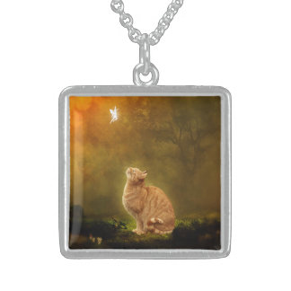 Cat and Fairy Square Pendant Necklace
