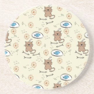 cat and fish pattern coasters