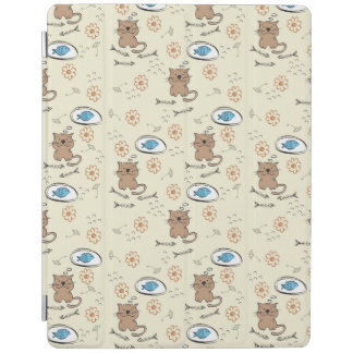 cat and fish pattern iPad cover