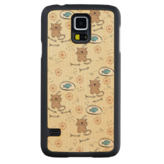 cat and fish pattern maple galaxy s5 case