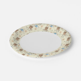 cat and fish pattern paper plate