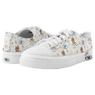 cat and fish pattern printed shoes