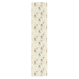 cat and fish pattern short table runner